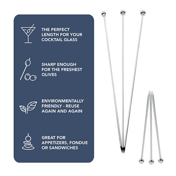 Cocktail Picks - 6 Short & 6 Long, Stainless Steel Finish