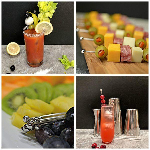 Cocktail Picks - 6 Short & 6 Long, Stainless Steel Finish