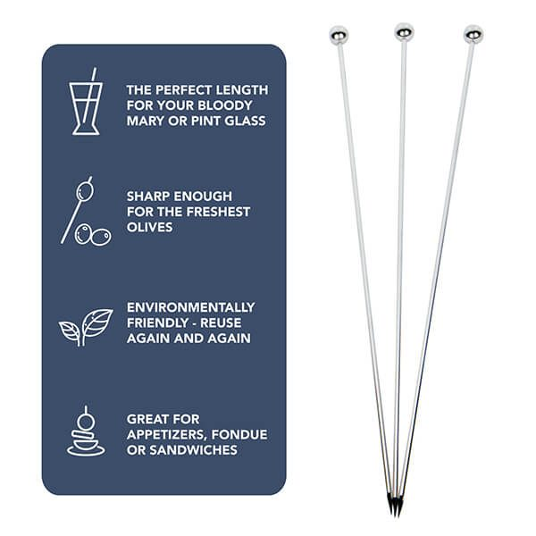 "8"" Stainless Steel Cocktail Picks, Set of 12."