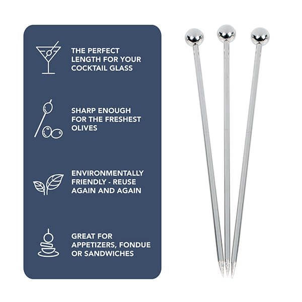 """4"""" Stainless Steel Cocktail Picks, Set of 12"""