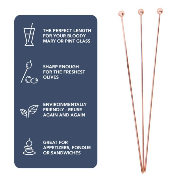 Short Cocktail Picks - 12pc, Copper Finish