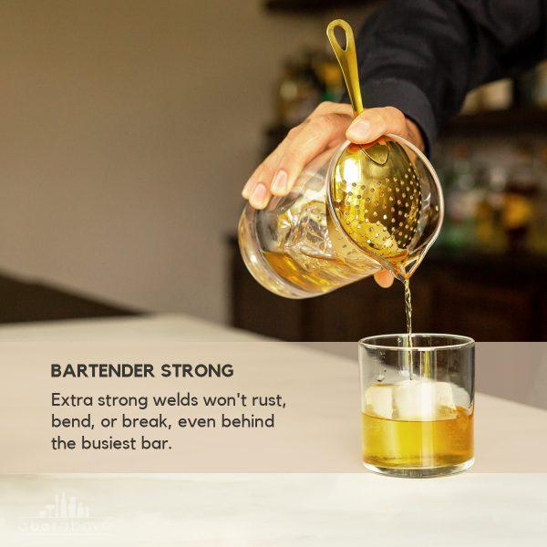 Gold Julep Strainer - Bartender Strong